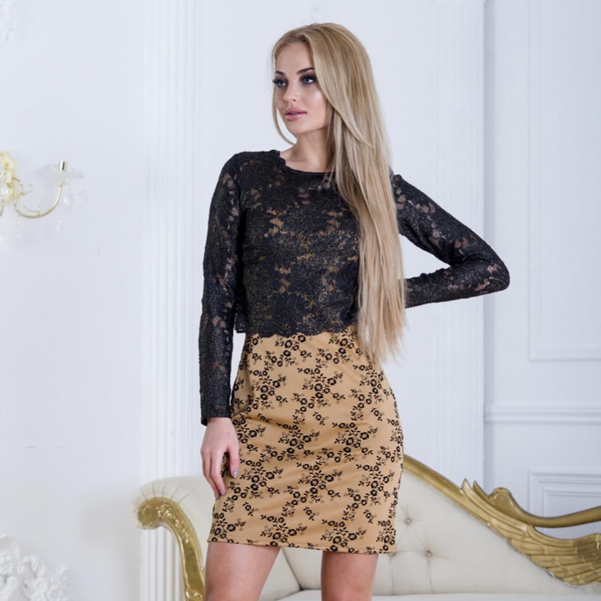 """Модное короткое платье с гипюровой кофтой """"Пари"""""""