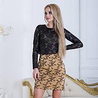 """Модное короткое платье с гипюровой кофтой """"Пари"""", фото 1"""