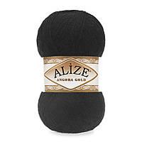 Зимняя пряжа (20% шерсть, 80% акрил; 100г/550м) Alize Angora Gold 60 (чёрный)