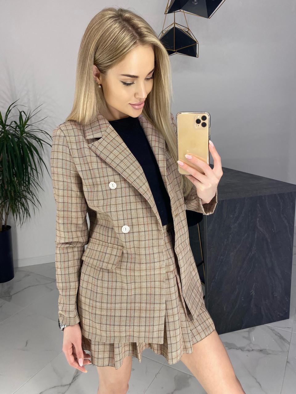 Женский костюм-двойка пиджак и юбка /коричневый, 42-46, ft-470/