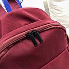 Бардовый однотонный рюкзак женский с водонепроницаемой пропиткой., фото 5