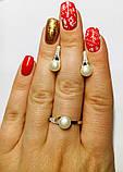 Срібний набір з білим золотом і перлами Перліту, фото 4
