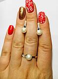Срібний набір з білим золотом і перлами Перліту, фото 5