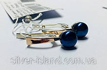 Срібні сережки з чорним перлами і золотом Сенсі