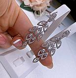 Сережки у сріблі родованим з цирконом Листочки, фото 3