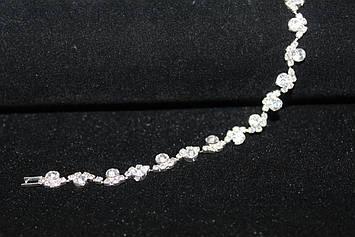 Шикарный серебристый браслет с камнями горный хрусталь