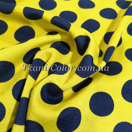 Французский трикотаж желтый в синий горох 2см, фото 2