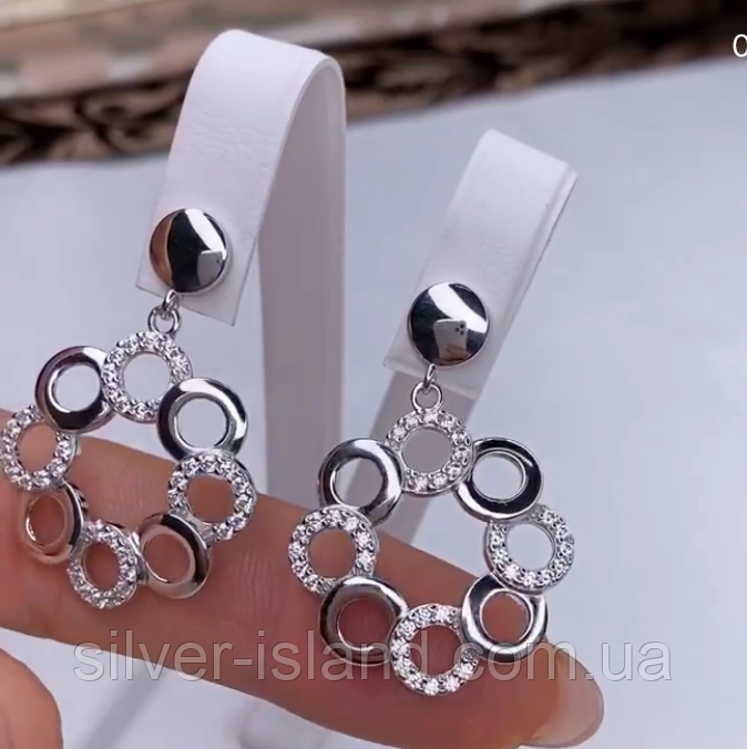 Срібні сережки з круглим підвісом і цирконом Марселіна