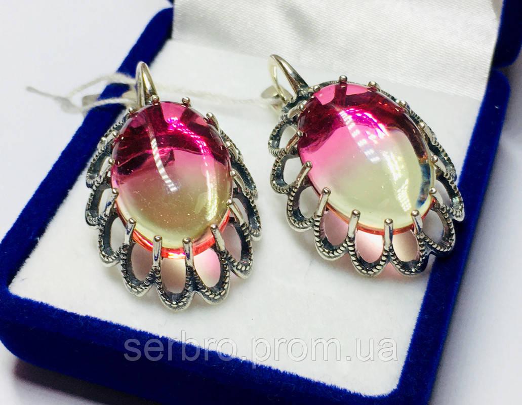 Сережки з великим цирконом срібло Жозефіна