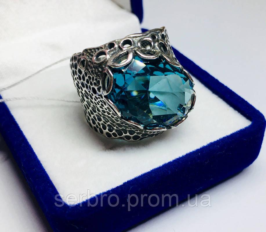 Перстень в сріблі з великим блакитним фианитом Форос