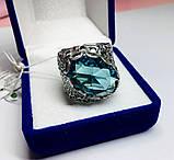 Перстень в сріблі з великим блакитним фианитом Форос, фото 2