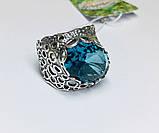 Перстень в сріблі з великим блакитним фианитом Форос, фото 3