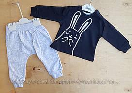 Костюм детский двухнитка 9-12-18-24 мес, заяц, темно синий