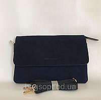 Клатч сумочка из натурального замша Pretty Woman через плечо темно-синий цвет Одесса 7 км, фото 1