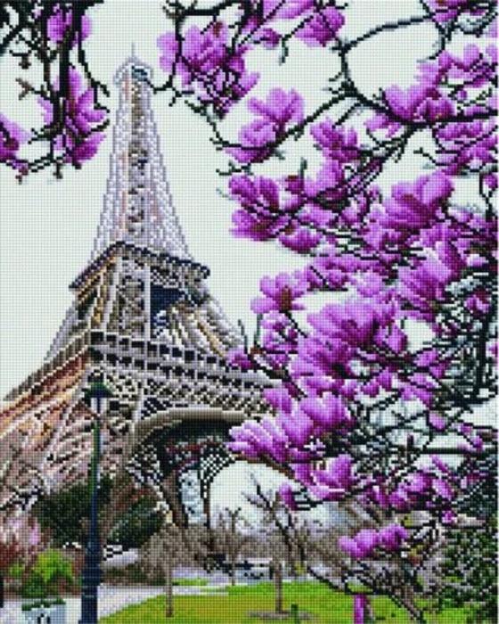 Алмазная живопись 30*40см. GJ1004 Весна в Париже Rainbow Art, алмазная мозайка