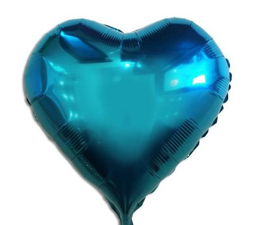 """Фольгована кулька серце бірюзовий 18""""  Китай"""