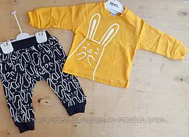 Костюм детский двухнитка 9-12-18-24 мес, заяц, жёлтый