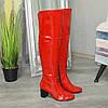 Ботфорты   лаковые на устойчивом каблуке, цвет красный, фото 2