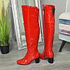 Ботфорты   лаковые на устойчивом каблуке, цвет красный, фото 3