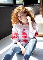 Женская нарядная блузка - вышиванка Мираж, рукав 3\4, р.42,44,46,48,50,52 белая с красным, жіноча вишиванка