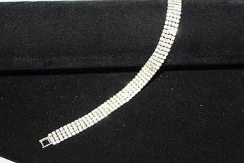 Замечательный серебристый браслет с камнями горный хрусталь