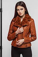 Качественная женская куртка весна-осень из экокожи коричневая Braggart Youth. Размер 42 (XXS) 44 (XS)