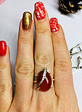 Кольцо с большим камнем сердолик серебро Филадельфия, фото 4