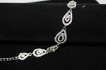Изумительный браслет серебристый с камнями горный хрусталь
