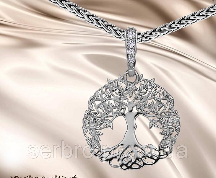 Кулон в родированном серебре с цирконами Дерево жизни