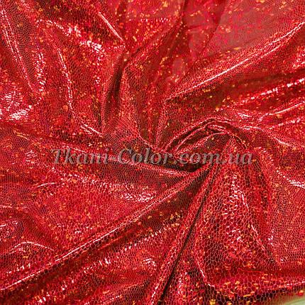 Трикотаж диско голограмма красный, фото 2