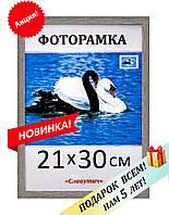 Фоторамка пластиковая А4 21х30, темно-серебристая. Рамка для фото дипломов сертификатов грамот. Код 1513-11
