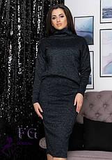 Теплий жіночий костюм з ангори з спідницею міді великий розмір сірий, фото 3
