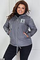 Куртка-ветровка женская легкая весна-осень плащевка больших размеров 48-62 батал,цвет графит