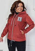 Куртка-ветровка женская легкая весна-осень плащевка больших размеров 48-62 батал,цвет краный