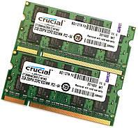 Пара оперативной памяти для ноутбука Crucial SOD DDR2 4Gb (2Gb+2Gb) 800MHz 6400s CL6 (CT25664AC800.C16FMD) Б/У, фото 1