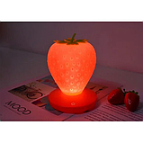 Силиконовый LED светильник-ночник Клубника. Розовая, фото 5
