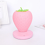 Силиконовый LED светильник-ночник Клубника. Розовая, фото 3