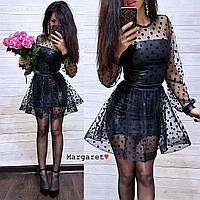 Женское черное нарядное платье кожа с сеткой в горошек (размер С и М)