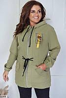 Куртка-ветровка женская легкая весна-осень парка больших размеров 48-62 батал,цвет оливковый