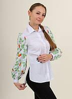 Женская блуза - вышиванка Непокореные, рукав длинный р.42,44,46,48,50,52,54 белая с зеленым, жіноча вишиванка