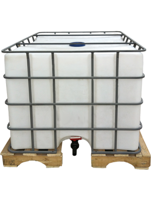 Еврокуб пластиковый на поддоне в обрешетке объем 1000 литров.