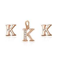 """Набор серьги - гвоздики + кулон буква """"К"""" ХР Gold filled 18k. Розовое золото."""