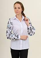 Женская блузка - вышиванка Непокореные, рукав длинный р.42,44,46,48,50,52,54 белая с синим, жіноча вишиванка
