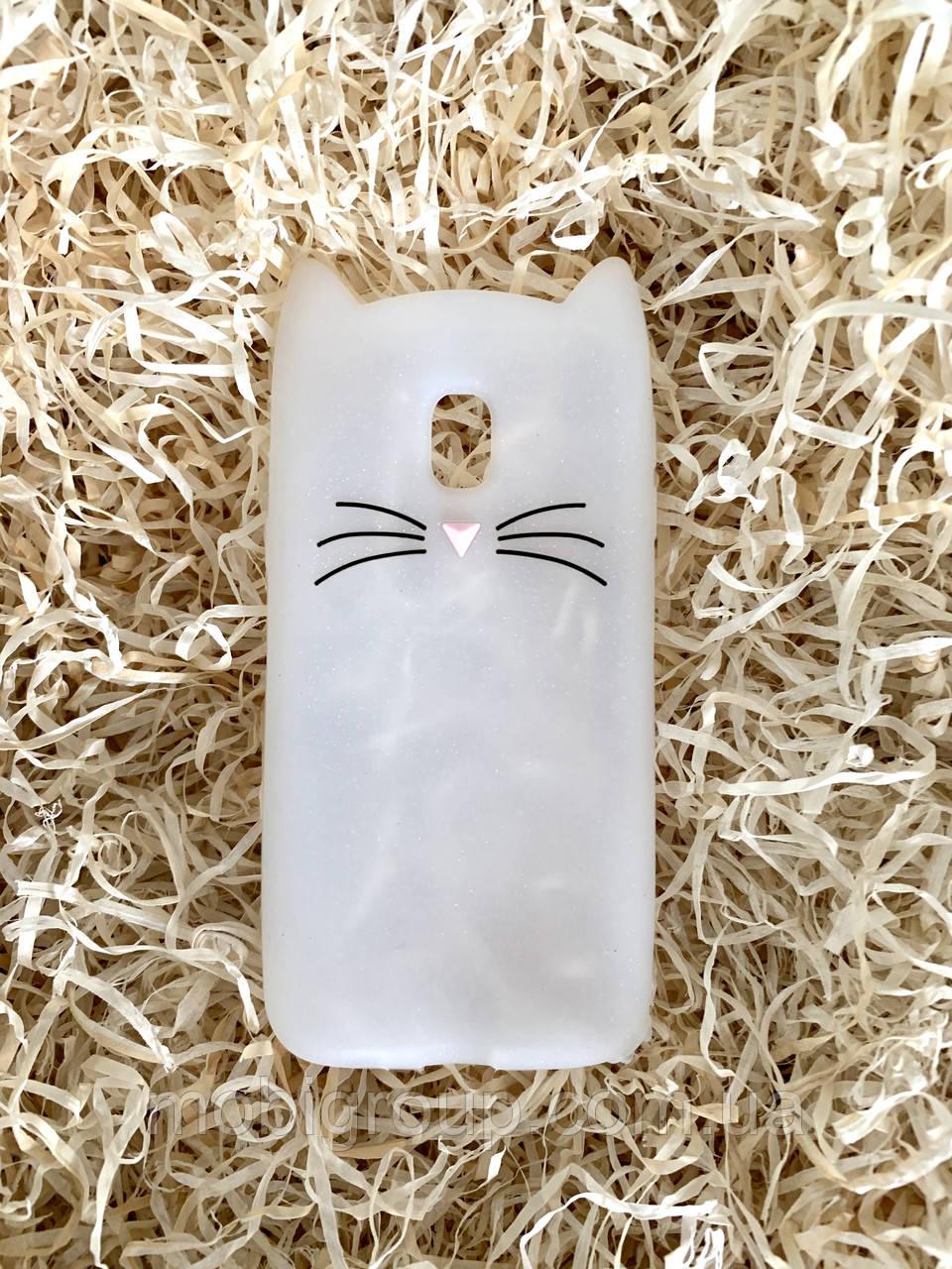 Силиконовый чехол Cat для Samsung J3 2017 (J330), прозрачный с блестками