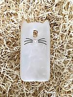 Силиконовый чехол Cat для Samsung J3 2017 (J330), прозрачный с блестками, фото 1