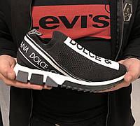 Мужские стильные кроссовки Dolce Gabbana черные c белым , Материал: текстиль, сетка