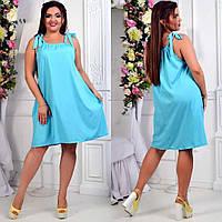 Летнее платье-сарафан на завязках с карманами из софта