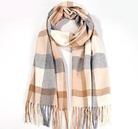 Зимний шарф клетчатый шерстяной
