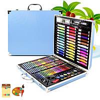 Набор для рисования Painting Set 150 предметов Blue Фломастеры Карандаши Краски Степлер Клей Чемоданчик
