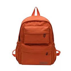 Однотонный оранжевый рюкзак женский с водонепроницаемой пропиткой  LOOZYKIT (AV235)